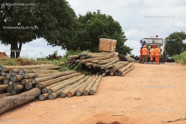 Parte do material mobilizado para a reposição da linha de Alta Tensão em Mocuba