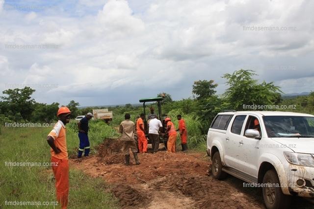 Técnicos da EDM trabalhando na reposição da linha de Alta Tensão em Mocuba