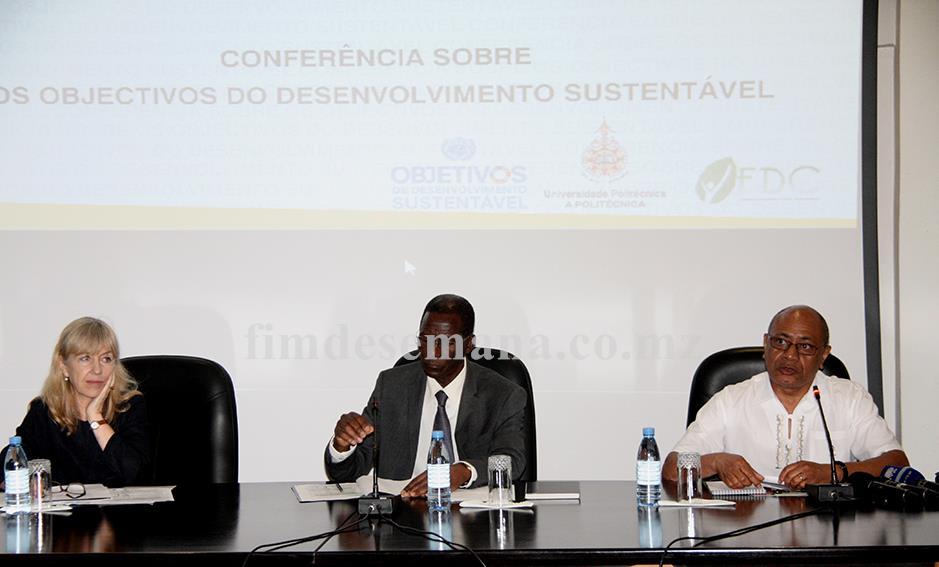 Mesa que presidiu a Conferência sobre Objectivos de Desenvolvimento Sustentável