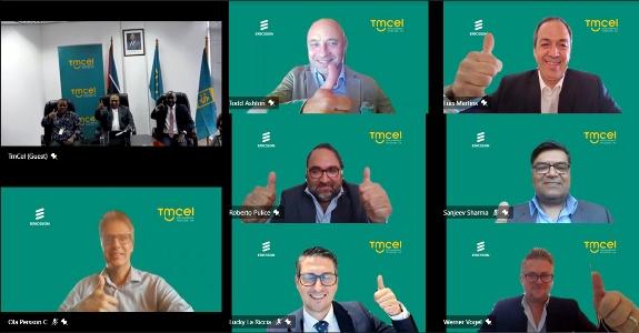 Participantes da cerimonia virtual de assinatura do acordo entre a Ericsson e a Tmcel 3