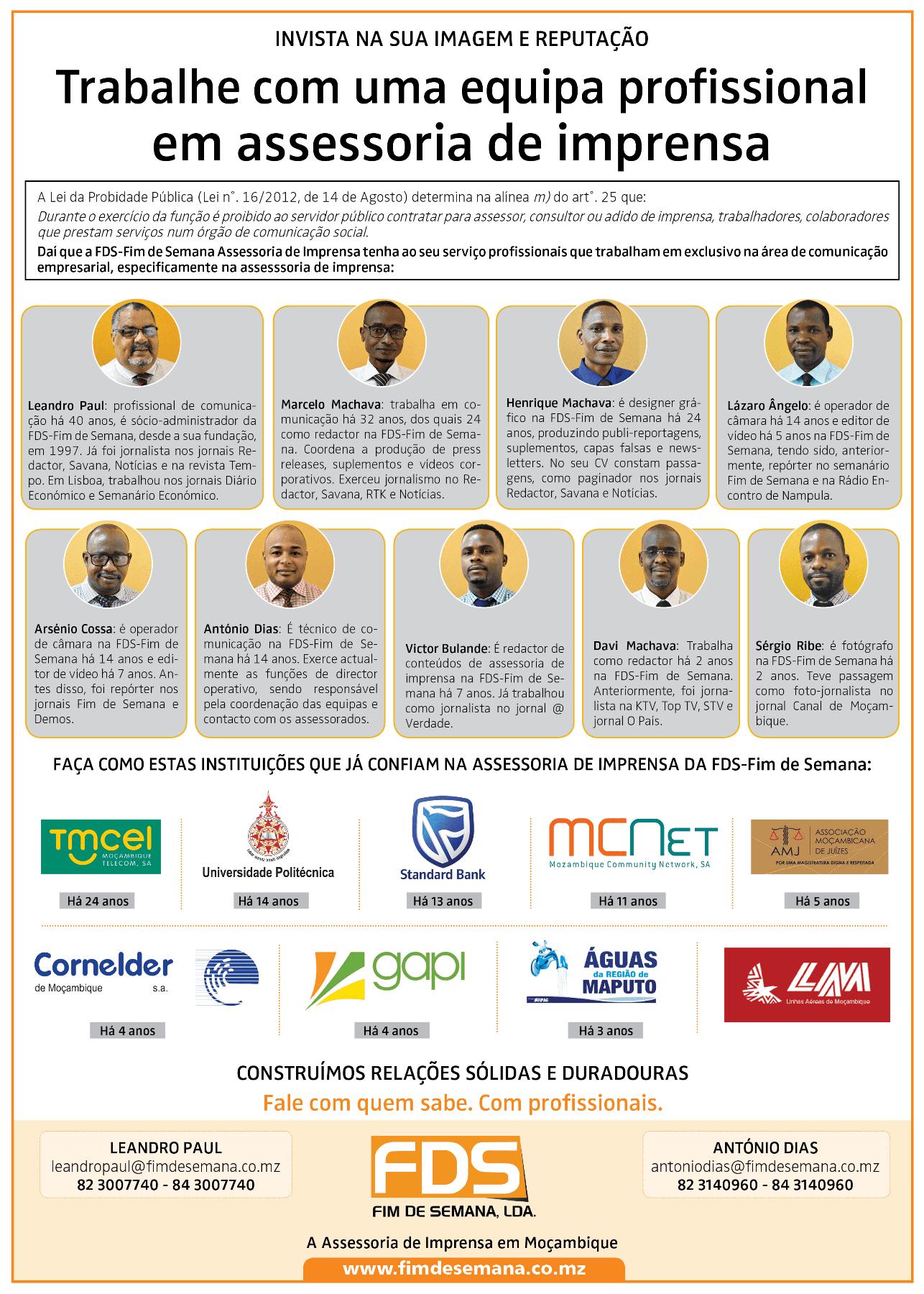 Invista na sua imagem e reputacao equipa profissional da FDS Fim de Semana Agencia de Comunicacao e Imagem em Mocambique