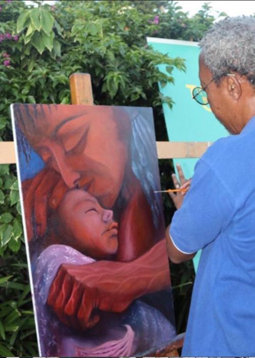 Pedro Mourana pintando
